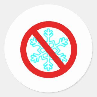 No Snowflake Round Sticker