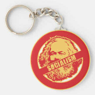 No Socialism Basic Round Button Key Ring
