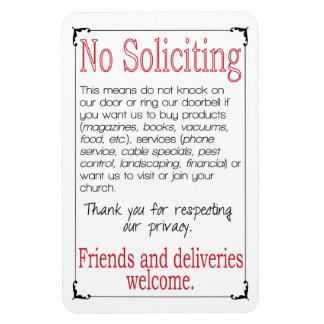 "No Soliciting 4X6"" Magnet"