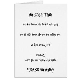 No Soliciting Card