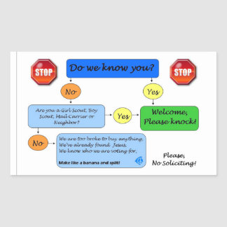 No Soliciting Flow Chart Rectangular Sticker