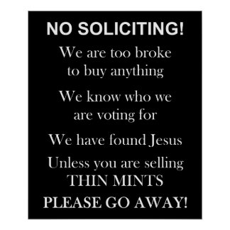 No Soliciting print or poster
