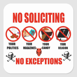 No Soliciting Square Sticker