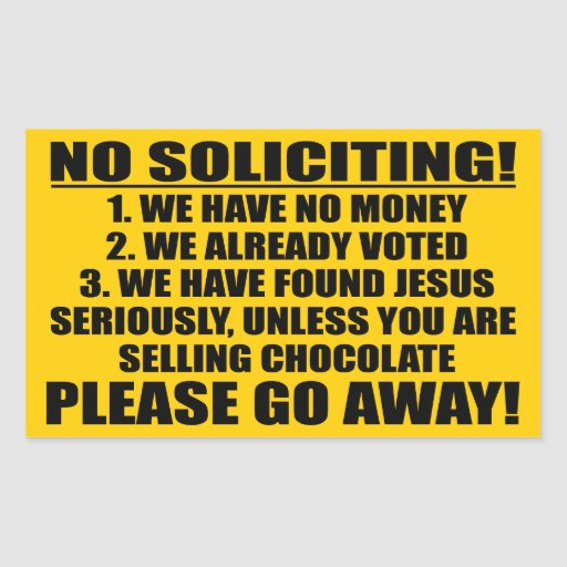 No Soliciting Rectangular Sticker