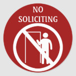 No Soliciting Stickers, Red and White