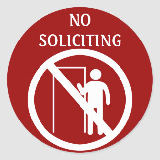 No Soliciting Stickers, Red and White Classic Round Sticker