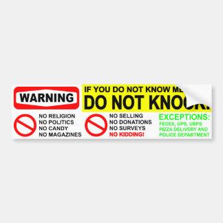 No Solicitors Door Sticker Car Bumper Sticker