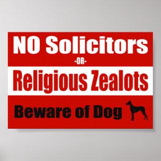 NO Solicitors Door/Window Poster