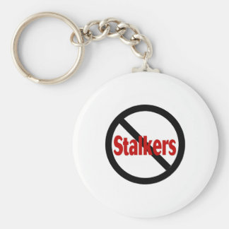 No Stalkers Basic Round Button Key Ring