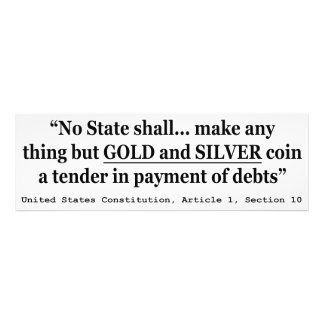 No State Shall Make Any Thing But Gold And Silver Photographic Print