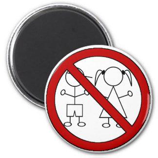 No Stick Figure Kids 6 Cm Round Magnet