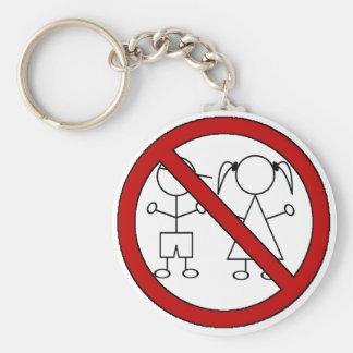 No Stick Figure Kids Basic Round Button Key Ring