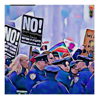 No! Stop Trump & Pence, Women's March for equality Poster