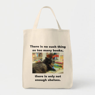 """""""No such thing as too many books"""" Cat (Light) Tote Bag"""