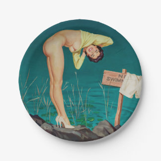 No swimming vintage pinup girl paper plate