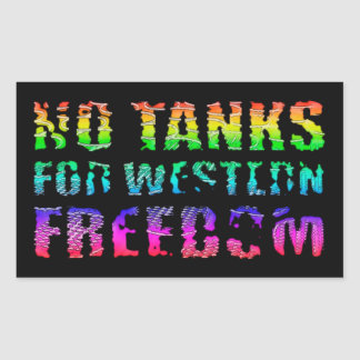 No tanks for western freedom rectangular sticker