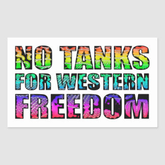 No tanks for western freedom rectangular stickers