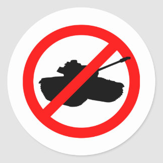 No Tanks! Round Sticker