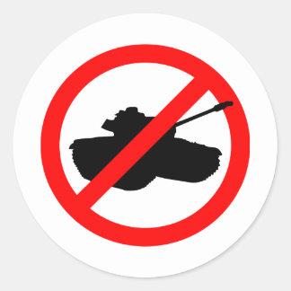 No Tanks! Round Sticker