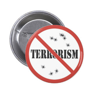 no terrorism 6 cm round badge