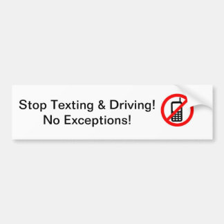 No Texting Bumper Sticker