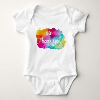 No Thank You Rainbow Watercolor Baby Bodysuit