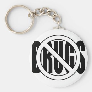No to Drugs Basic Round Button Key Ring