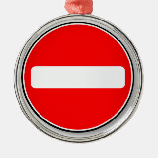 No Traffic Entry Silver-Colored Round Decoration