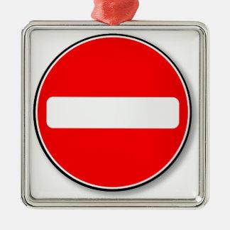 No Traffic Entry Silver-Colored Square Decoration
