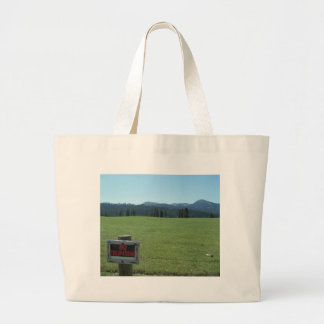 no trespassing large tote bag