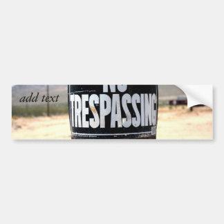NO TRESPASSING Wired Post Bumper Sticker