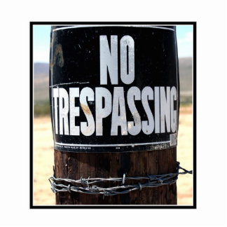 NO TRESPASSING Wired Post Cut Out