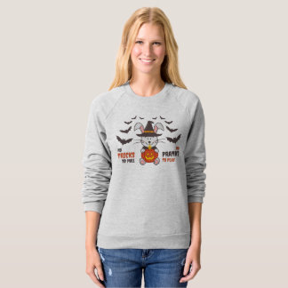 No tricks No pranks bunny witch pumpkin candle bat Sweatshirt
