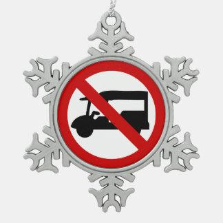 NO Tuk-Tuk TAXI ⚠ Thai Road Sign ⚠ Snowflake Pewter Christmas Ornament