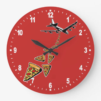 No war more pizza large clock