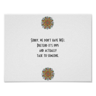 No WiFi Funny Quote Mandala Art Poster