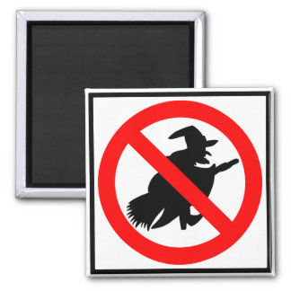 No Witches Highway Sign Refrigerator Magnet