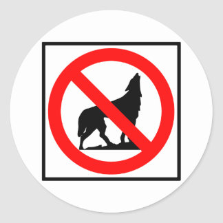 No Wolves Highway Sign Classic Round Sticker