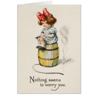 """""""No Worries"""" Cute Little Girl Card"""