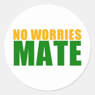 no worries mate classic round sticker