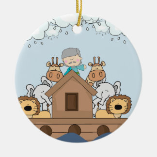 Noah and the Ark Full of Animals Ceramic Ornament