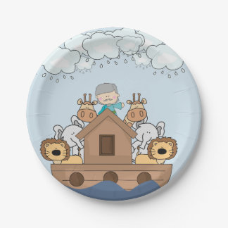 Noah and the Ark Full of Animals Paper Plate