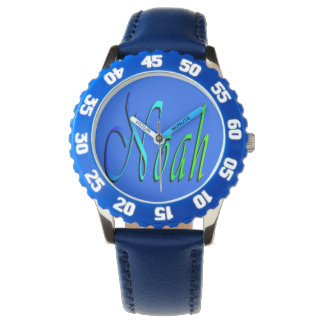 Noah, Name, Logo, Boys Blue Number Leather Watch. Watch