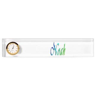 Noah, Name, Logo, Desk Nameplate With Clock.