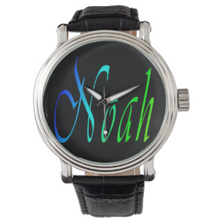 Noah, Name, Logo, Mens Big Black Leather Watch. Watch