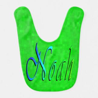 Noah, Name Logo On Mosaic Green Background, Bib