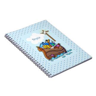 Noah's Ark Baptism, Boy Blue Spiral Notebook