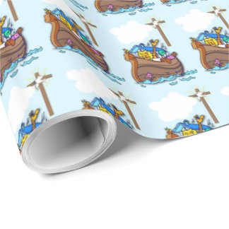 Noah's Ark Baptism, Boy Blue Wrapping Paper