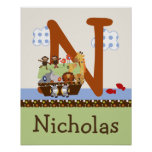 Noah's Ark/Animal Pairs Initial/Name Wall Poster