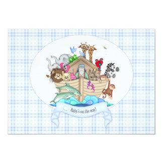 Noah's Ark Animals Blue Gingham 13 Cm X 18 Cm Invitation Card
